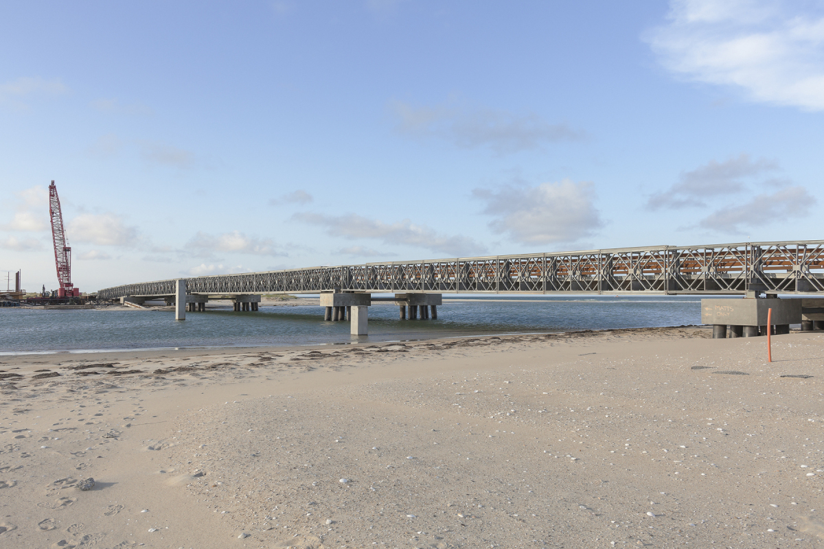 Bridge Constructed over New Inlet, a Breach Caused by Hurricane Irene, NC 12, Outer Banks, North Carolina, 2014. Elevation Four Feet. N 35.68362 W 75.48393.
