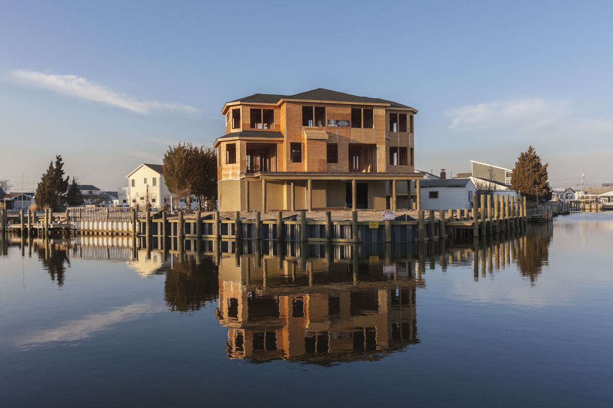 New Construction after Hurricane Sandy, 28 Jack Lane, Beach Haven West, New Jersey, 2014. Elevation Six Feet. N 39.66617 W 74.23008.