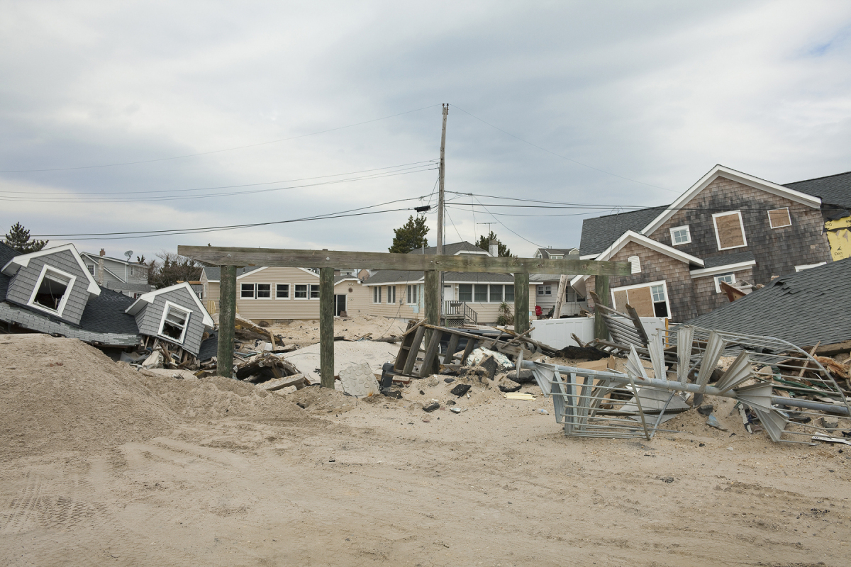 Ninth Avenue after Hurricane Sandy, Brick, New Jersey, 2013. Elevation Four Feet. N 40.00401 W 74.06005.