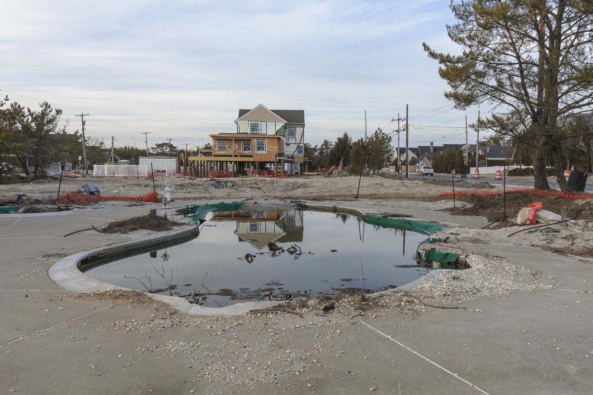Swimming Pool at the Site of a Removed House, 1001 Ocean Avenue, Mantoloking, New Jersey, 2014. Elevation Three Feet. N 40.05077 W 74.04826.