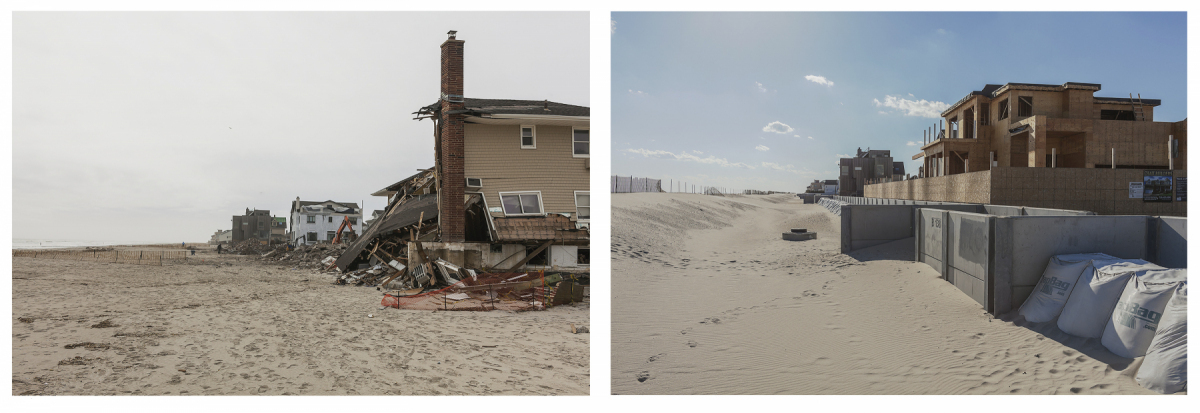 After Hurricane Sandy, Rebuilding Bigger behind a New Sea Wall, B138 Street, Rockaways, New York, March 2013 and March 2014. Elevation Eight Feet. N 40.57104 W 73.85412.
