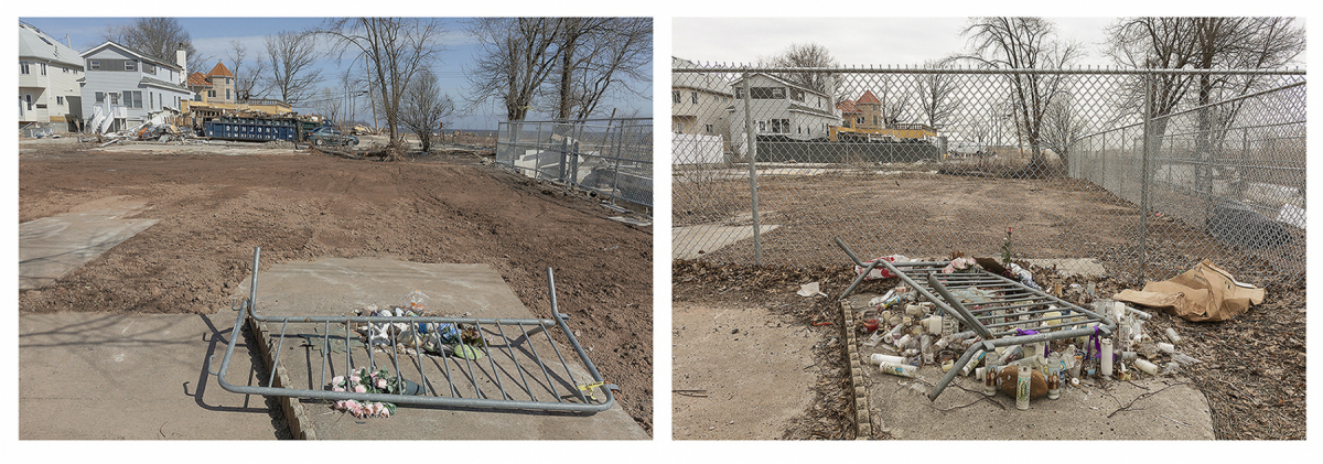Site of a Father and Child Fatality from Hurricane Sandy, 687 Yetman Avenue, Staten Island, 	March 2013 and March 2014. Site included in the New York Buy-Out Program,        	Redevelopment Prohibited Elevation Two Feet. N 40.49904 W 74.23944.