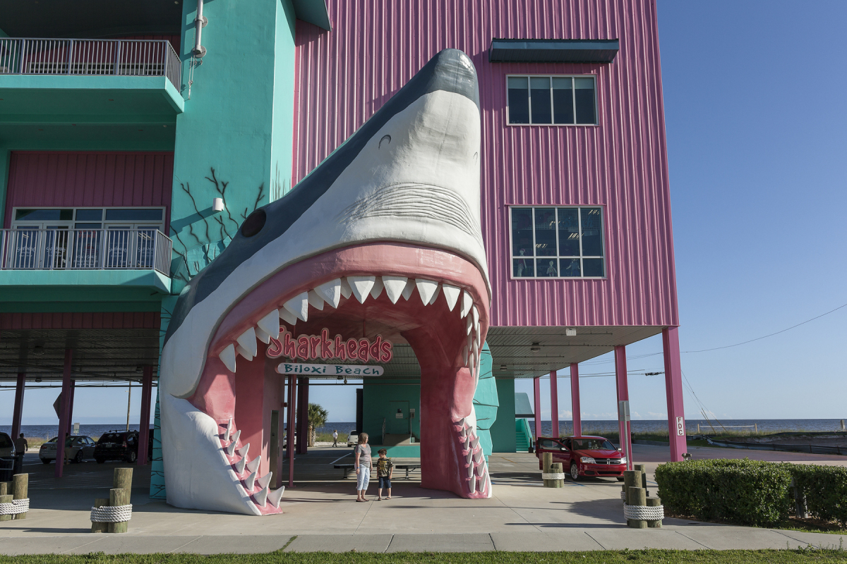 Sharkheads Souvenir Store, Completely Rebuilt after having been Destroyed by Hurricane Katrina, Biloxi, Mississippi, 2014. Elevation Eight Feet. N 30.39304 W 88.93968.