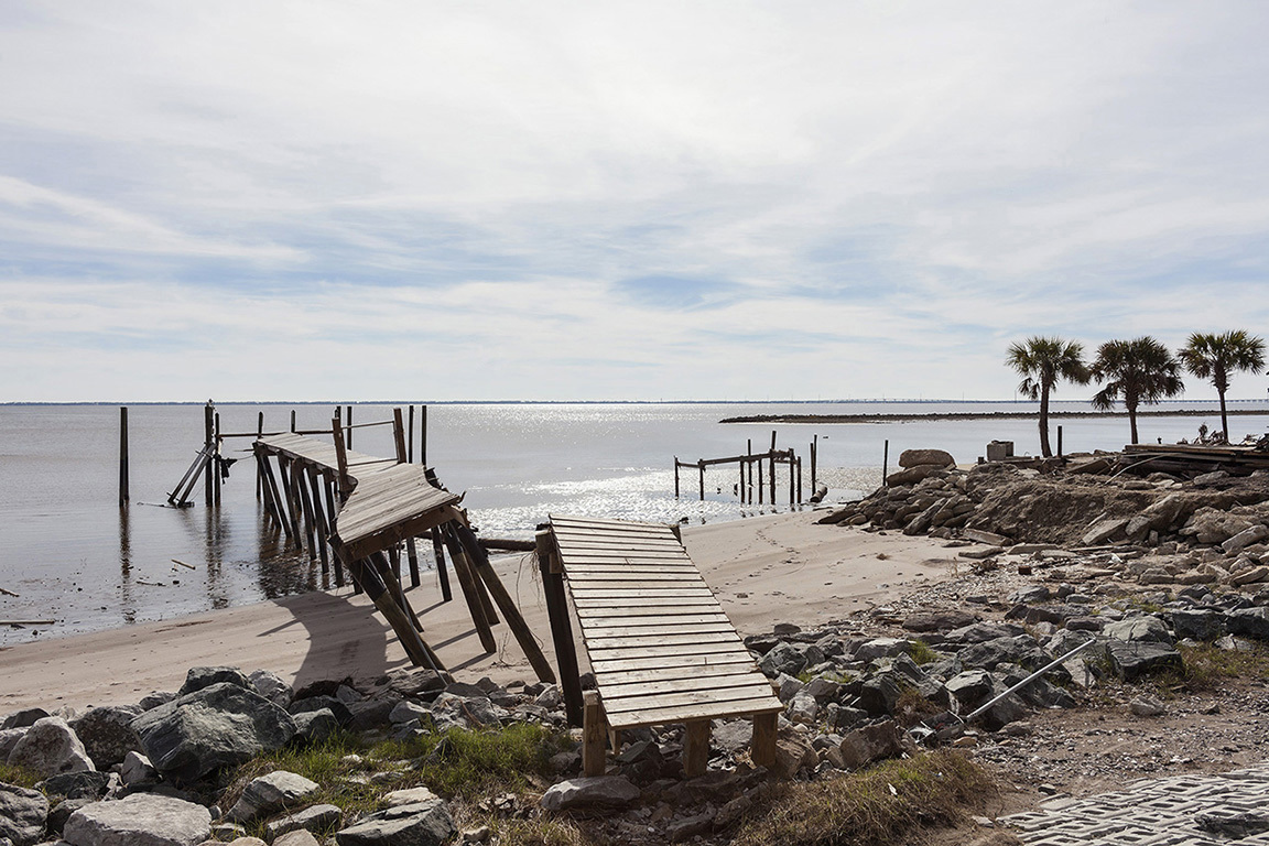 Dock Damaged by Hurricane Michael, Eastpoint Florida, 2018. Elevation Zero Feet. N 29.74365 W 84.86596.