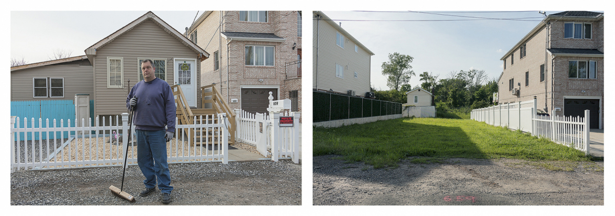 Frank Mosznki, President of the Ocean Breeze Neighborhood Association,        	Who Took the New York Buy-Out Program, Staten Island, New York, 2014        	Site with Frank Mosznki's House Removed, 2019	     	 Elevation Three Feet. N 40.57818 W 74.08208.