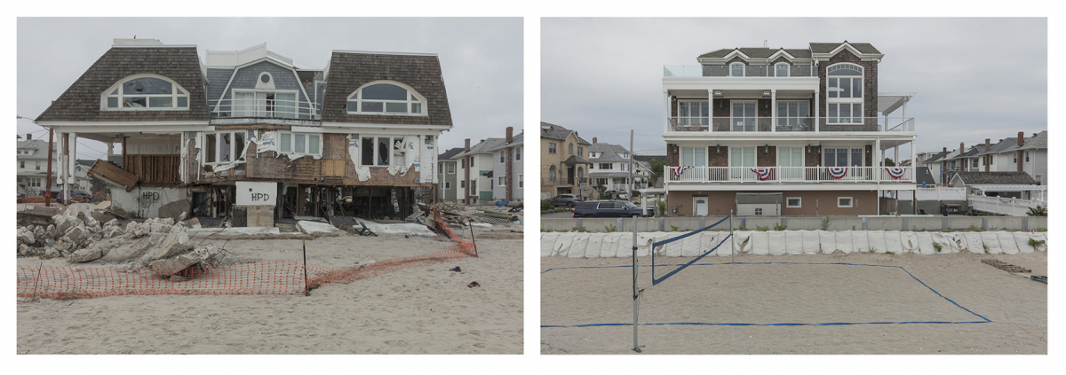 Beach House after Hurricane Sandy 128 B 132 Street, Rockaways, New York 2013 and 	2019. Elevation Nine Feet. N 40. 57303 W 73.84914.