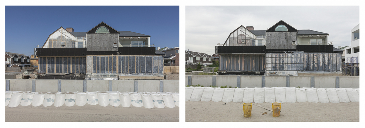 New Seawall and Damaged House, 136 B144 Street, Rockaways, New York, 2014 and 2019 	Elevation Nine Feet. N 40.56934 W 73.85868.