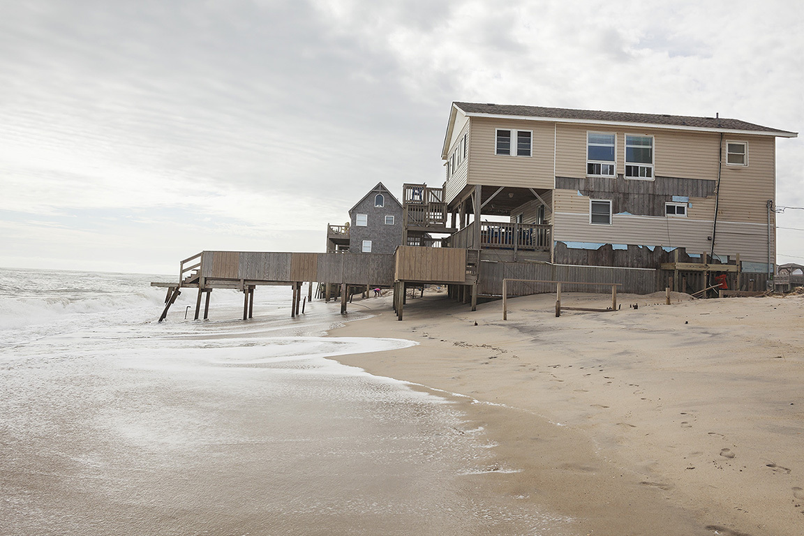 Beach House under Threat and Damaged by Hurricane Dorian, Rodanthe, Outer Banks North Carolina 2019. Elevation Three Feet. N 35.58337 W 75.46154.