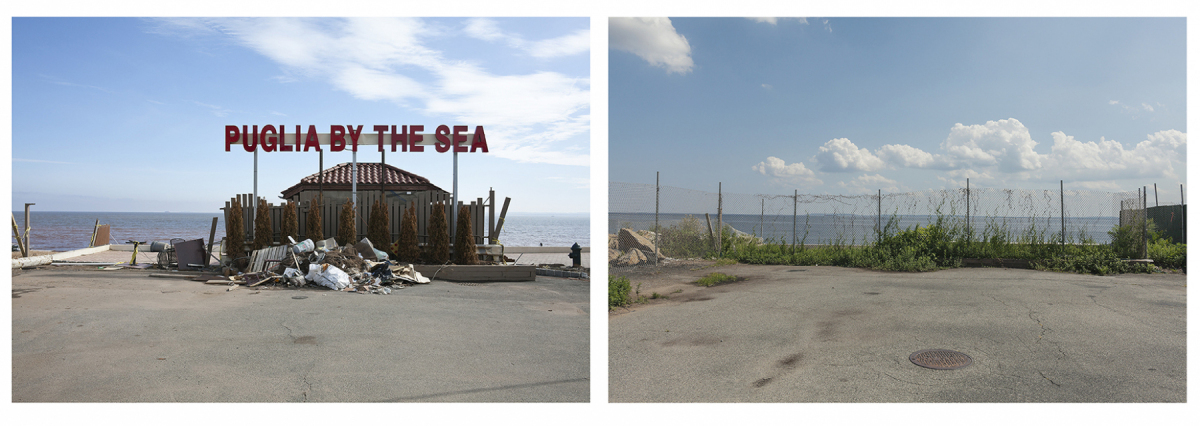 """Puglia By The Sea"" Sign, Restaurant Destroyed by Hurricane Sandy,  	Barclay Avenue, Staten Island, New York, 2013. Site Re-photographed 2019 	Elevation Four Feet. N 40.52559 W 74.16642"
