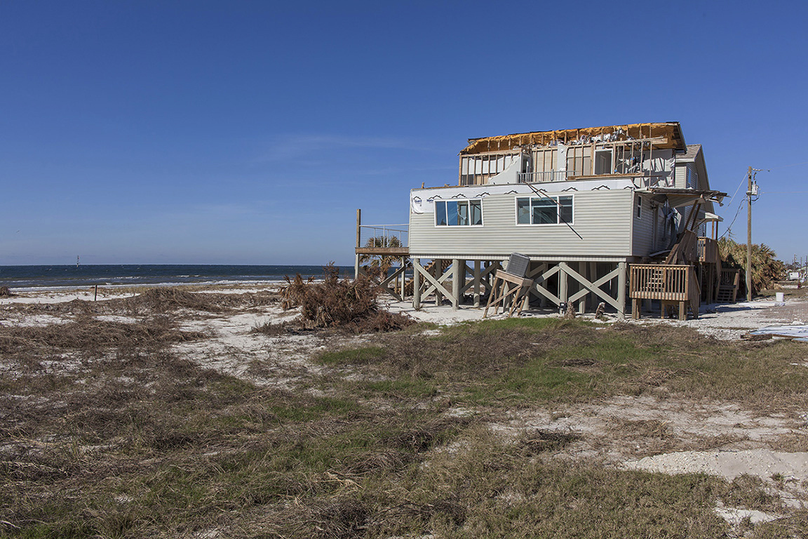 Duplex Beach House, One Half Destroyed by Hurricane Michael, 6599 W Highway 98        	St Joe Beach, Florida, 2018. Elevation Three Feet. N 29.89608 W 85.36115