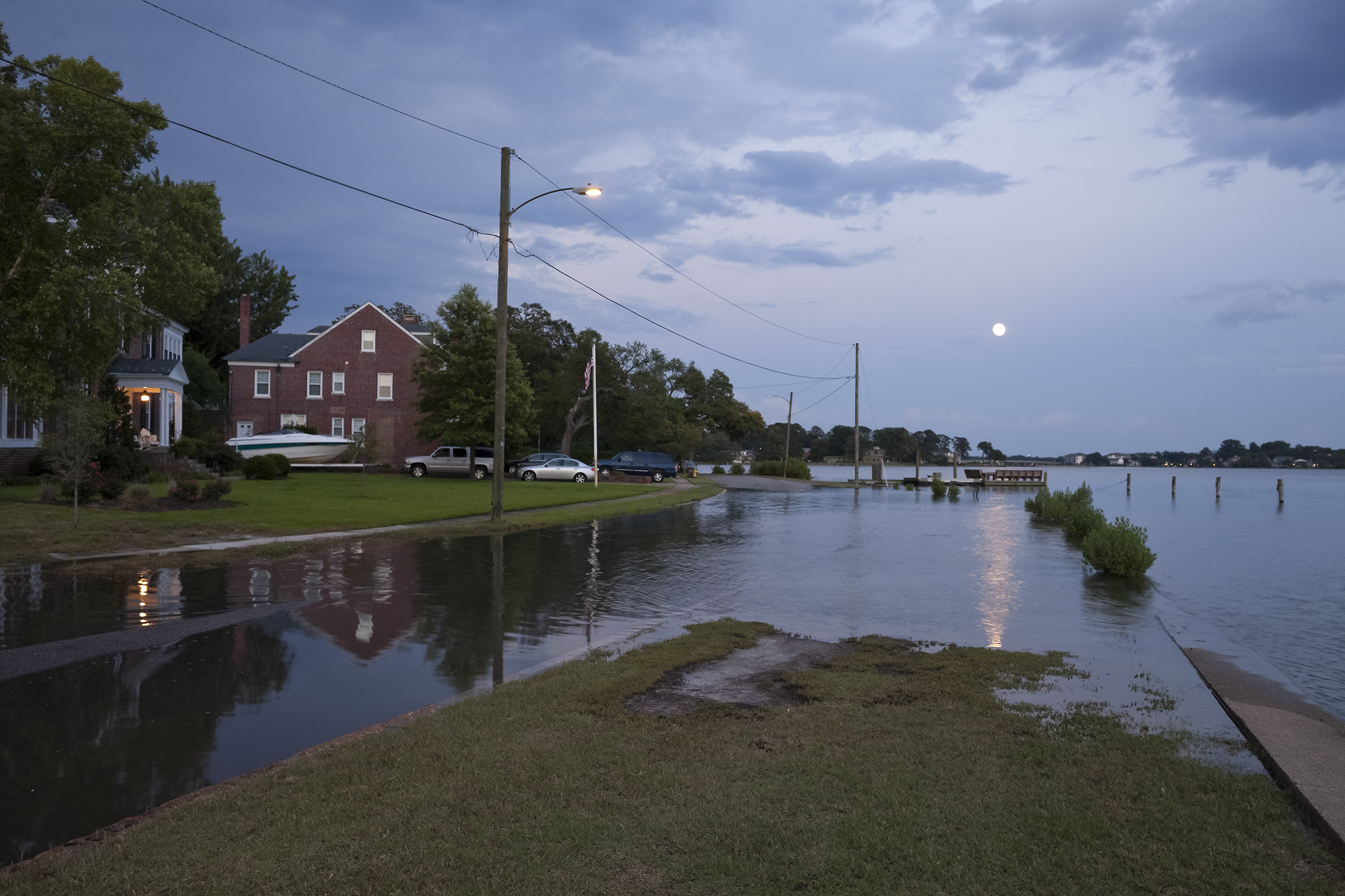 Flooding at High Tide and a Full Moon, Cambridge Place, Norfolk, Virginia, 2012.