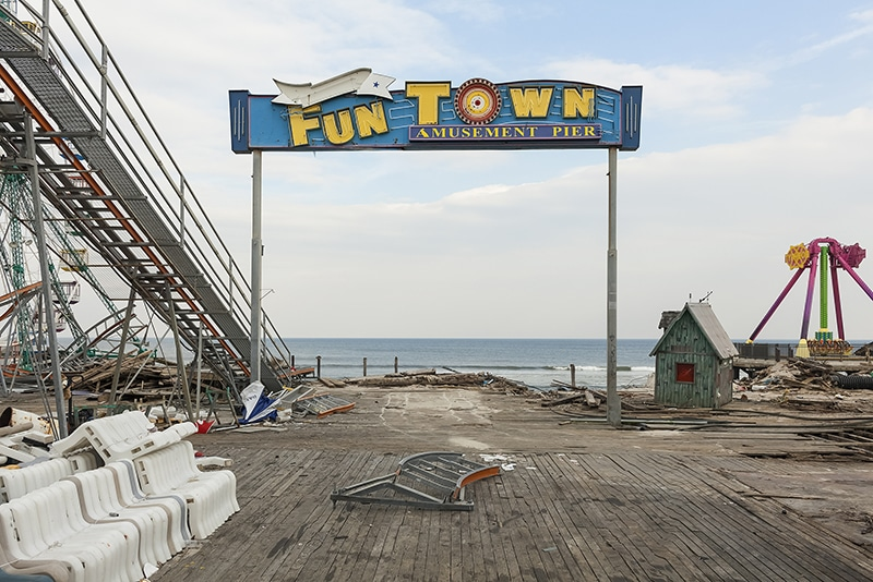 Pier Entrance, Fun Town Amusements, Destroyed by Hurricane Sandy, Seaside Park, New  Jersey, 2013. N 39.94122 W 74.07093.  Elevation Sixteen Feet.