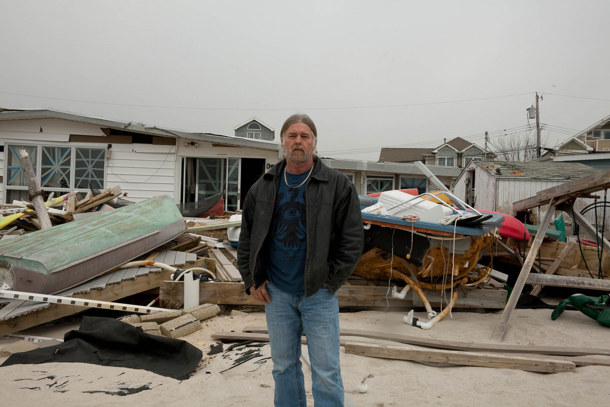 Randy Peterson at His Beachfront House (Later Demolished) after Hurricane Sandy, 27 Bay Point Drive, Silverton, Tom's River, New Jersey, 2013.