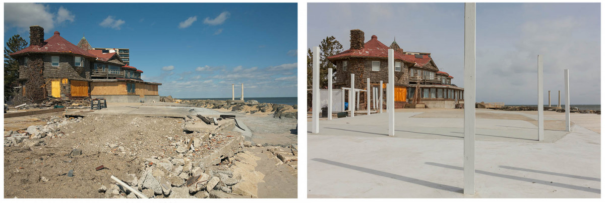35 Ocean Avenue at Valentine Street after Hurricane Sandy, Monmouth Beach, New Jersey, March 2013 & 2014.