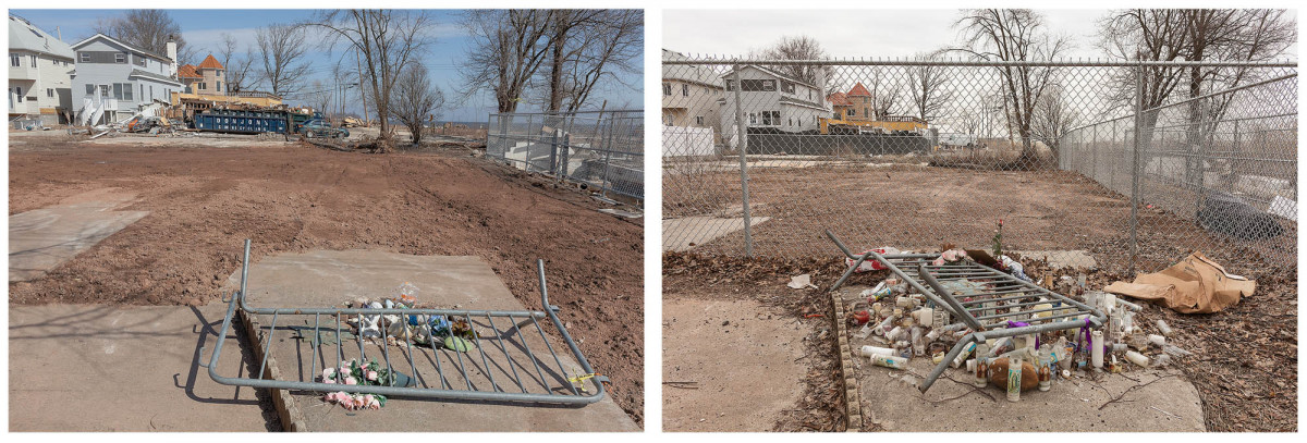 Site of a Father and Child Fatality from Hurricane Sandy, 687 Yetman, Staten Island, March 2013 & 2014.