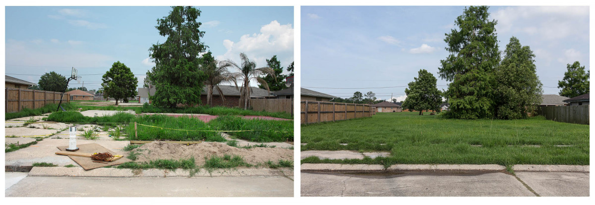 Missing House and Improvised Basketball Court, Blanchard Drive, Chalmette, New Orleans, June 2010 & 2014