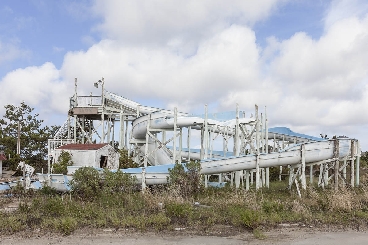 Water Slide Destroyed by Hurricanes Irene and Arthur, Outer Banks, Rodanthe, North Carolina, 2014.