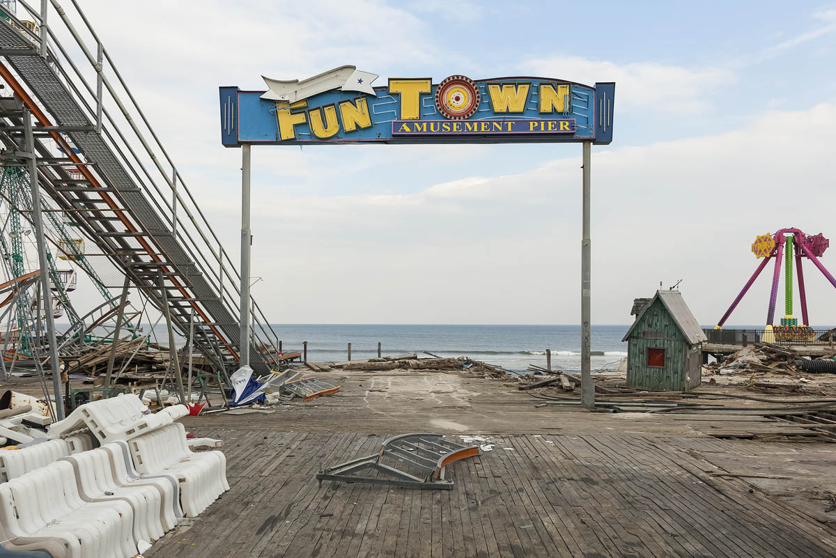 Pier Entrance, Fun Town Amusements, Destroyed by Hurricane Sandy, Seaside Park, New  Jersey, 2013.