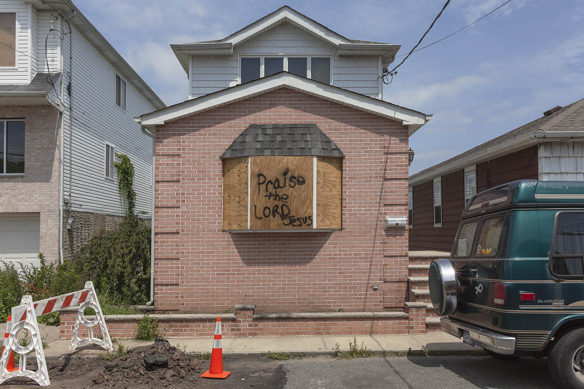 Graffiti Done by Homeowners in a Neighborhood Bought Out by the State of New York after  Hurricane Sandy, Fox Beach Avenue, Oakwood Beach, Staten Island, New York, 2014.  Elevation Six Feet. N 40.55353 W 74.11553.