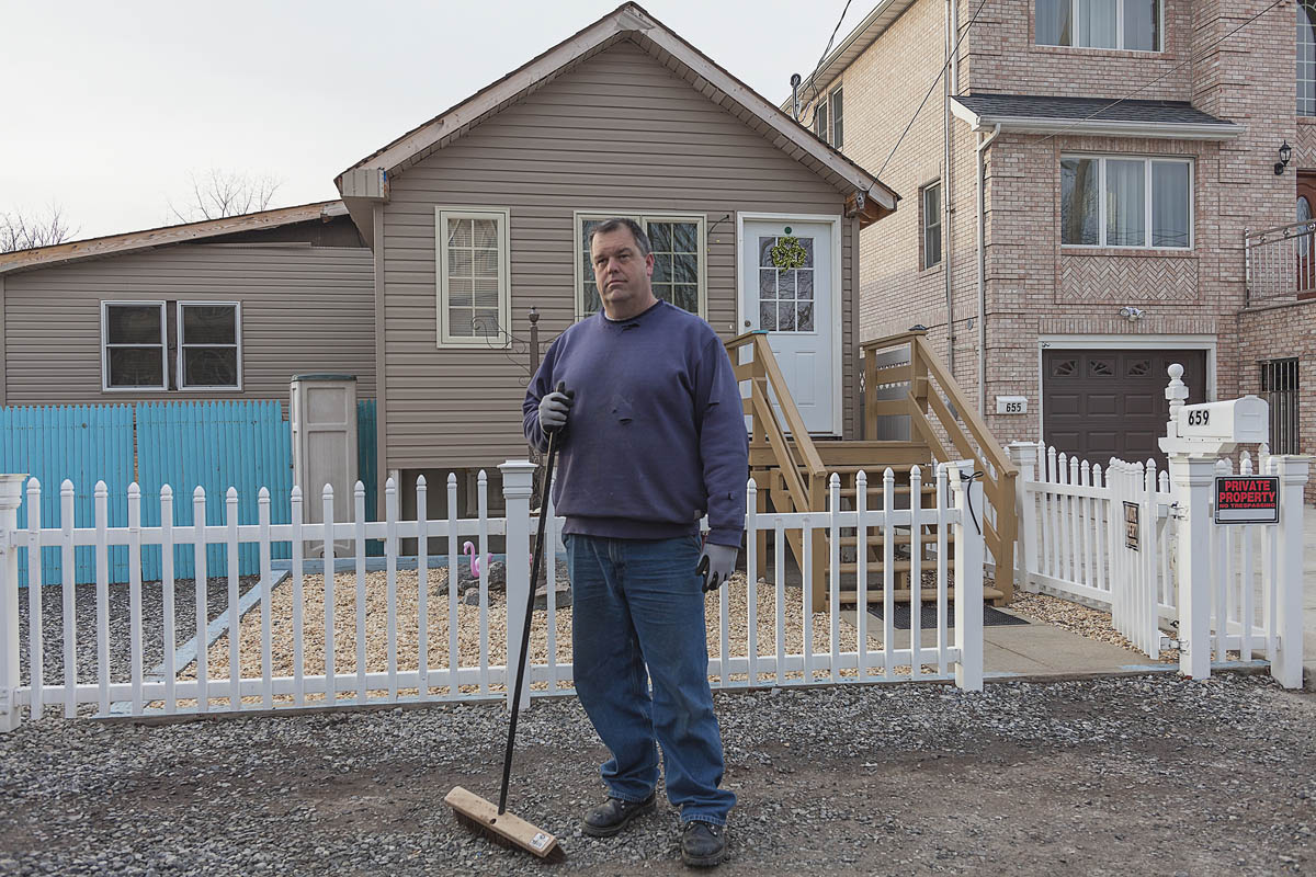 Frank Mosznki, President of the Ocean Breeze Neighborhood Association, Who Is Taking the  New York Buy-Out Program, Staten Island, New York, 2014. Elevation Three Feet. N 40.57818 W 74.08208.
