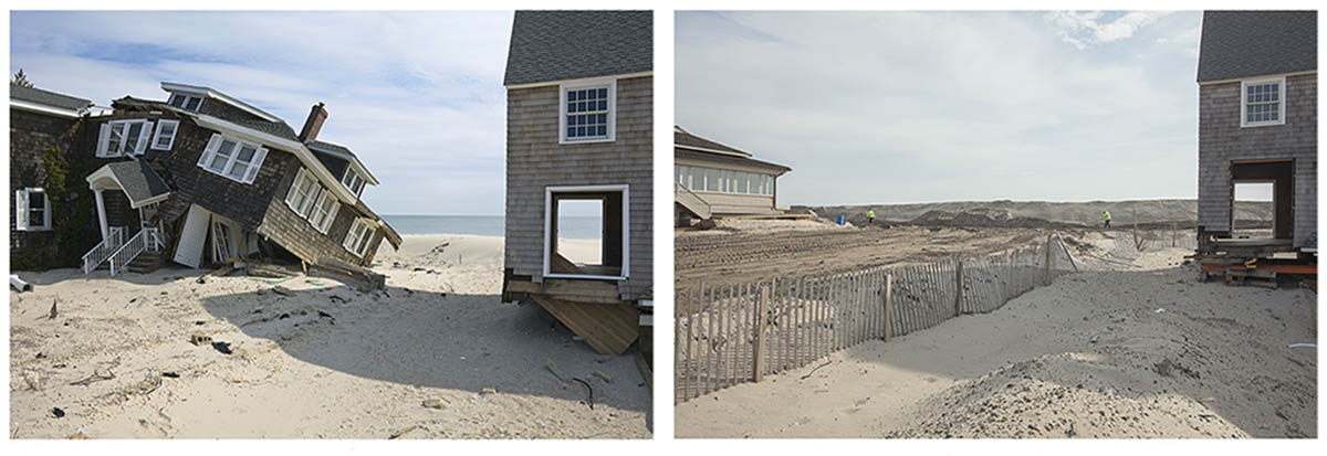 After Hurricane Sandy, Beach Houses Remaining, Site later Cleared and a Protective Dune Installed, 959 East Avenue, Mantoloking, New Jersey, March 2013 and March 2014.  Elevation Nine Feet. N 40.05418 W 74.04623.